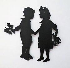Cricut Boy and Girl Flowers Valentine Silhouette Die Cut Scrapbook Embellishment