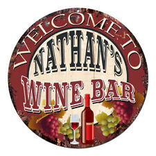 Cmwb-0108 Welcome to Nathan'S Wine Bar Chic Tin Sign Man Cave Decor Gift