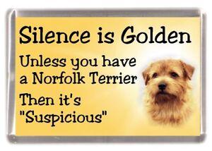 """Norfolk Terrier Dog Fridge Magnet """"Silence is Golden ......"""" by Starprint"""
