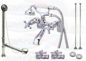Chrome Deck Mount Clawfoot Tub Faucet Kit  With Drain - Supplies - Stops