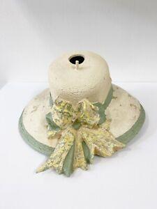 Helena Frost Fiberglass Handmade Hat Birdhouse Ivory Green Floral Bow