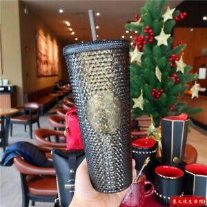 Starbucks 2020 China 24oz Bling Black Gold Shinning Diamond Studded Tumbler Cup