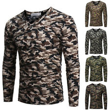Mens Camouflage Tactical Military Long Sleeve V Neck Slim Army Camo T-Shirt Tops