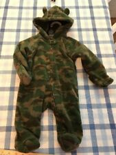 Faded Glory 3-6 Months Hooded Camouflage Fleece Zip-Up One Piece