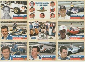 2008 The Unser Family Indy 500 Race Day Promo SGA Indy Car Card Sheet