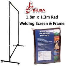 Red Welding Curtain/Screen with Heavy Duty Frame and Castors 1.8m x 1.3m