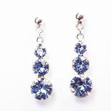 Damen Ohrringe 925 Sterling Silber Swarovski Kristalle Hänger 24 mm Blau