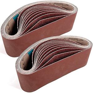 Stuhad 3 X 21 Inch Sanding Belts, 24Pcs Belt Sander Sandpaper, Aluminum Oxide