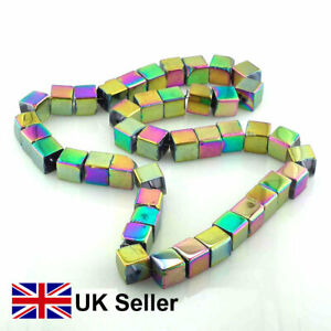 3 x strings Sparkling chromatic coloured glass cube beads, 8mm, by Pearls Direct