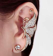 Women Rhinestone Crystal Butterfly Ear Cuff Clip Cartilage Ear wrap Earring 1pc