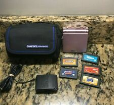 AGS-101 Nintendo Game Boy Advance SP Pearl Pink Handheld System With 5 Games!!
