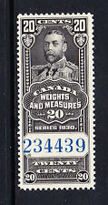 CANADA 1930 20c WEIGHTS & MEASURES REVENUE BAREFOOT No.33 MNH.