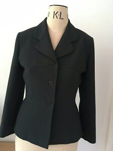 dark green jacket size 8 single breasted buttons waist length collar