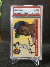 New listing 1955 Topps Hank Aaron #47 PSA 4 Nice card! 2nd Year Milwaukee Braves