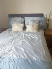 Matching Bedroom Set, Duvet, Pillows, Cushions, Curtains, Aqua, Gold Embroidery