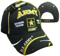 Adult Military U.S. Army With Star Defending Freedom Adjustable Black Hat Cap