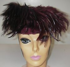 Vintage 1957 Women's Mushroom Feather Covered Hat Wine Velvet brim Millinery