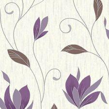 NUOVO!!! viola prugna / silver glitter-m0778-synergy floreale con texture Carta da Parati Vymura