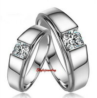 18k White Gold Plated Crystal Silver Color Wedding Ring Men's Band R137