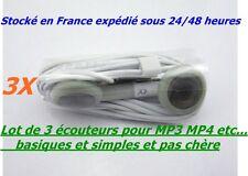 LOT DE 3 CASQUES ÉCOUTEURS BASIQUE POUR MP3 MP4 RADIO TV BALADEURS PORTABLES ETC