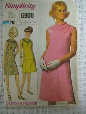 Vintage 60's Simplicity 6908 A-LINE DRESS w/ COWL NECKLINE Sewing Pattern Women