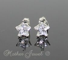 REAL SOLID 925 STERLING SILVER 5mm Simulated Diamond Star Unisex Earrings Stud