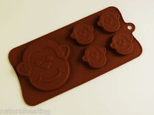 4+1 Monkey Monkeys Chocolate Silicone Bakeware Mould Candy Cake Topper Mold Tin