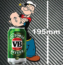 VB Beer Can Popeye Sticker Speedway Hot Rod Race Toolbox Bar Fridge Man cave BBQ