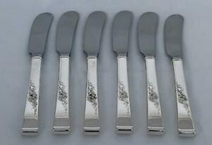 Set of 6 Reed & Barton Sterling Silver Classic Rose Butter Spreaders RW-33