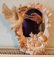BEAUTIFUL VINTAGE DRESSING TABLE VANITY MIRROR BABY GIRL & STORK 3D PINK 11in