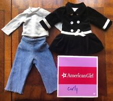 American Girl Doll Black White Velvet Coat Silver Shirt Blue Jeans Denim