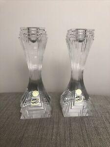 2x Bohemia Crystal Candlesticks Deco Style 24% Crystal Czech Art Glass 18cm Pair