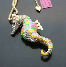 B544H    Betsey Johnson crystal Enamel Sea horse Pendant Sweater Chain Necklace