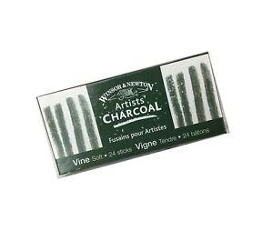 Winsor & Newton Artists' Vine Charcoal Sticks, 24/Pkg-Soft Box of 24 Soft