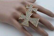 Women Gold Ring Fashion Big Cross Metal Adjustable Rhinestones Double 2 Fingers