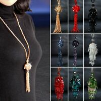 Fashion Beads Tassel Pendant Necklaces Glass Crystal Long Chain Women Jewelry