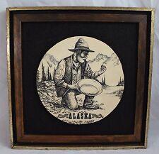 "Bill Devine 1970's Etching Alaska Goldminer Panning 10-1/2"""