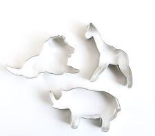Zoo Animals Cookie Cutters, Set of 3, Lion, Giraffe, Rhinoceros