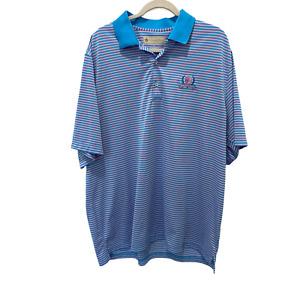 Donald Ross Polo Golf Shirt Men's Size XL Short Sleeve Striped Blue/Pink