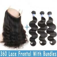 9A Body Wave 360 Lace Frontal Closure with Bundles Brazilian Human Virgin Hair