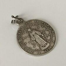 Pendentif Ancien En Argent Médaille Vierge Marie Daté 1830 French Antique Medal
