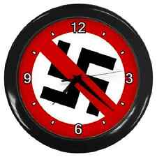 ANTI NAZI ANTI FASCISM SWASTIKA ROUND WALL CLOCK **SUPERB ITEM**
