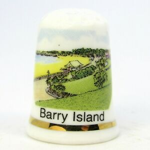 COLLECTABLE BONE CHINA THIMBLE 'BARRY ISLAND' WALES BY GWP UK LTD.