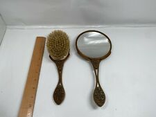Vintage Metal Mirror Brush Ornate Flower Leaves Art Deco