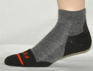 Fits Socks Light Hiker Quarter Quick Dry Merino Wool Gray & Brown Size XL