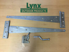 "Gate Hinge Pack Including 2x 18"" Tee Hinges Galvanised, 1 Auto Gate Latch"