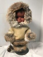 """Vintage Inuit Eskimo Doll by Regal Real Fur Coat and Hat w/ Leather Boots 12.5"""""""