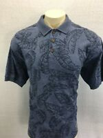 TOMMY BAHAMA  Sz L Blue Palm Print Short Sleeve Polo Shirt 100% Cotton