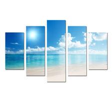 Blue Seascape Beach Landscape Painting Canvas Wall Art Poster Print Home Decor 5