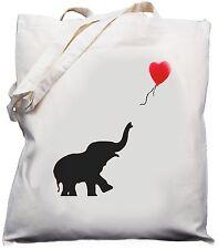 Elephant & Balloon Design - Natural (Cream) Cotton Shoulder Bag / Shopper /Tote